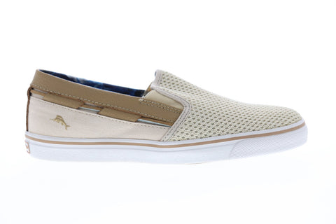 Tommy Bahama Journey Mens Beige Textile Slip On Sneakers Shoes