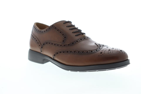 Geox U Hilstone 2Fit Mens Brown Leather Low Top Lace Up Wingtip Oxfords Shoes