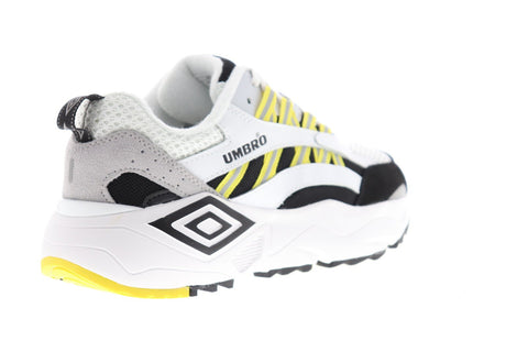 Umbro Neptune Mens White Suede & Mesh Low Top Lace Up Sneakers Shoes