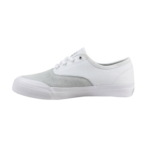 HUF Cromer Mens White Canvas & Suede Low Top Lace Up Sneakers Shoes