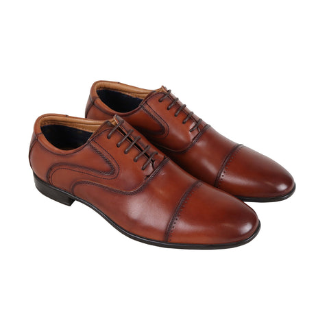 Steve Madden Verdic Mens Brown Leather Casual Dress Lace Up Oxfords Shoes