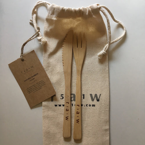 Carry With me Bamboo cutlery Set by 51 Raw - Knife & Fork