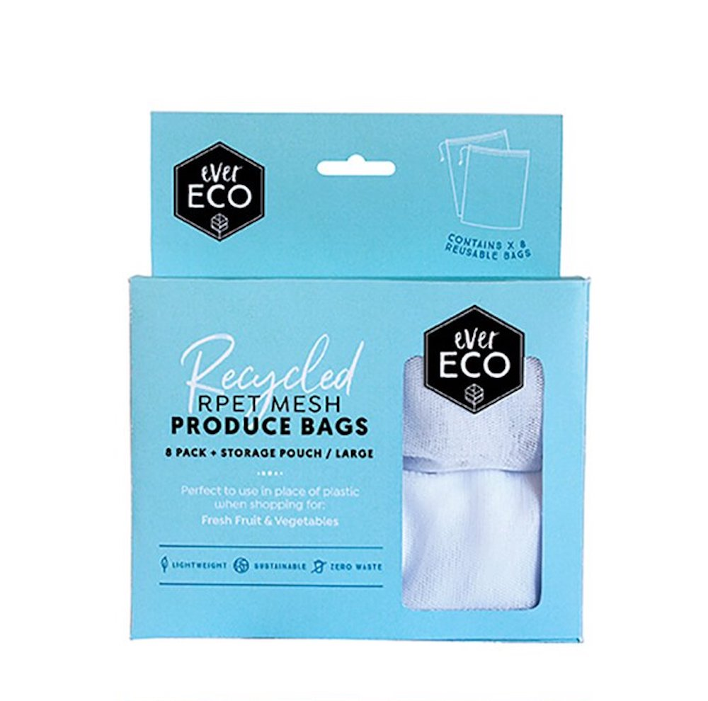 8 Mesh Reusable Produce Bags Made From Recycled Plastic Bottles by Ever Eco