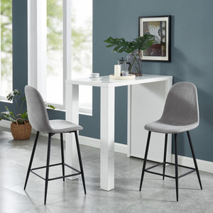 Onio 26'' Counter Stool, set of 2, in Grey with Black Legs