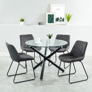 Suzette/Calvin 5pc Dining Set, Charcoal