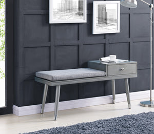 Elba Bench W/Drawer in Grey