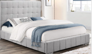 Grey Fabric Bed Includes Mattress Support IF-5780