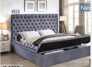 Grey Velvet Fabric Bed with 3 Storage Benches (2 Side Benches X 1 Front Bench) IF-5790