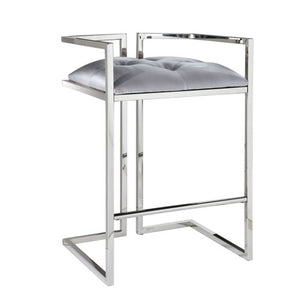 CORALIE Counter Chair GY-COU-8051 Silver Satin w/ steel base