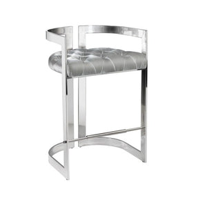 MAJESTIC Counter Chair GY-COU-8050 Grey Velvet w/ steel base