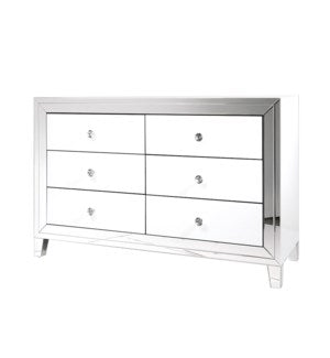 GY-WHT005 SIDEBOARD WHITE MIRROR 6 DRAWER W/ SOFT CLOSE