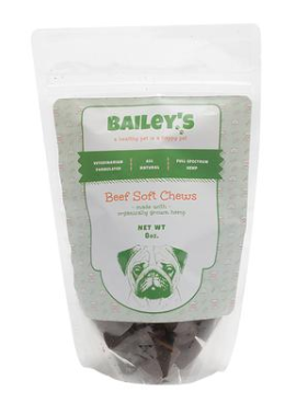 Bailey's CBD Beef Flavored Soft Chews. Hemp For Dogs. CBD For Pets.