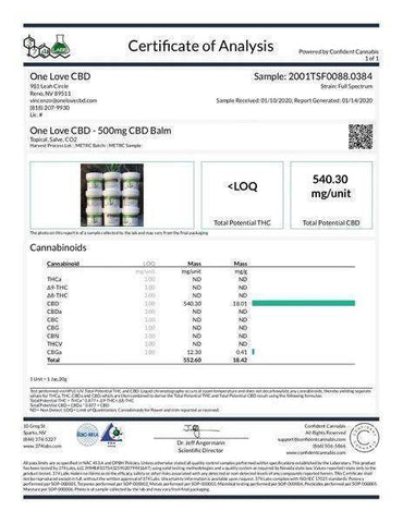 Image of One Love CBD 500MG Broad Spectrum Topical Relief Balm