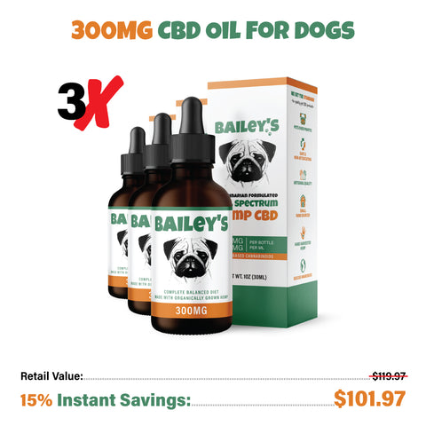 Bailey's Full Spectrum Hemp Oil For Dogs w/ 300MG Naturally Occurring CBD