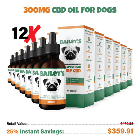 Bailey's CBD Oil For Dogs | 300MG 30ML Standard Size Bottle