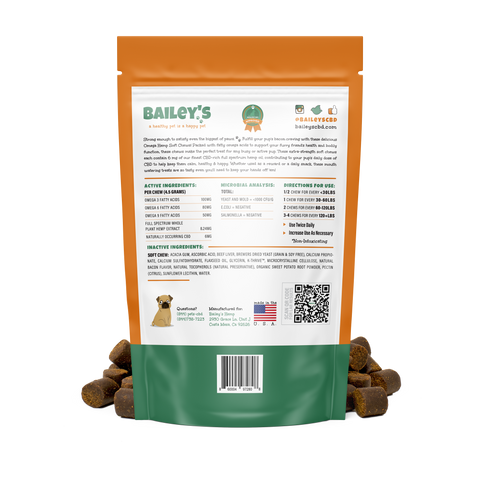 Bacon Flavored Omega Hemp CBD Soft Chews - Large Breed/Extra Strength