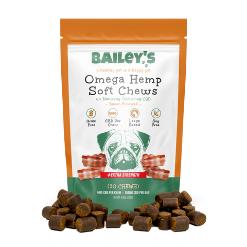 Image of Extra Strength Omega Hemp Soft Chews Large Breed 30 Count Bag w/ 6MG CBD Per Chew