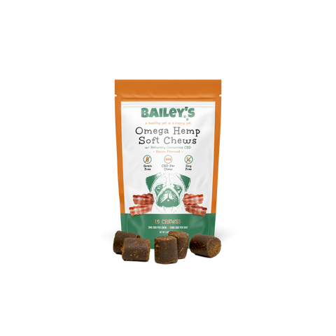 Image of Bailey's Bacon Flavored Omega Hemp Soft Chews - 5 Count On-The-Go Pack w/ 3MG CBD Per Chew