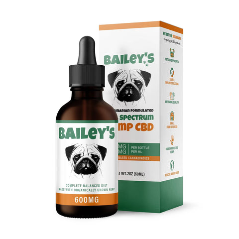 Image of Bailey's CBD Oil For Dogs | 600MG 60ML Large Size Bottle (Best Value!)