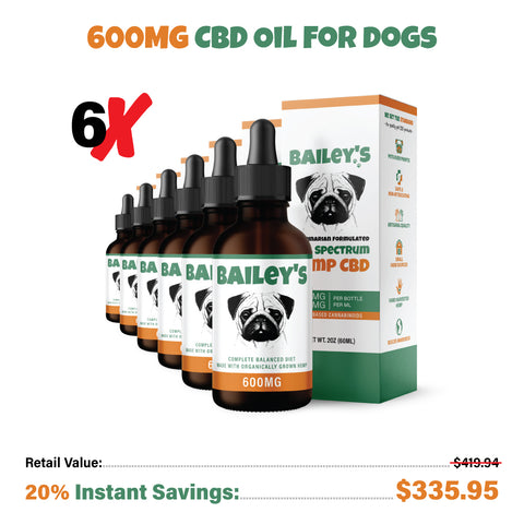 Bailey's CBD Oil For Dogs | 600MG 60ML Large Size Bottle (Best Value!)
