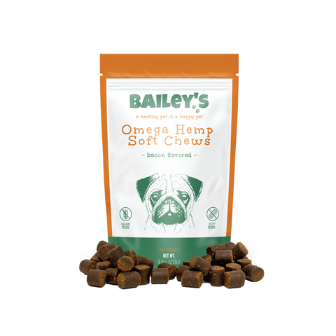 Bailey's Omega Hemp Soft Chews - Bacon Flavored- 60 Count Bag