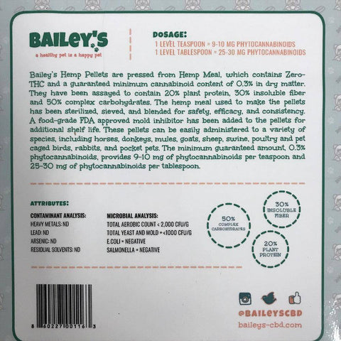 Bailey's CBD Hemp Pellets | Bailey's CBD Oil For Dogs | CBD Dog Treats | Hemp Oil For Dogs | Pet CBD