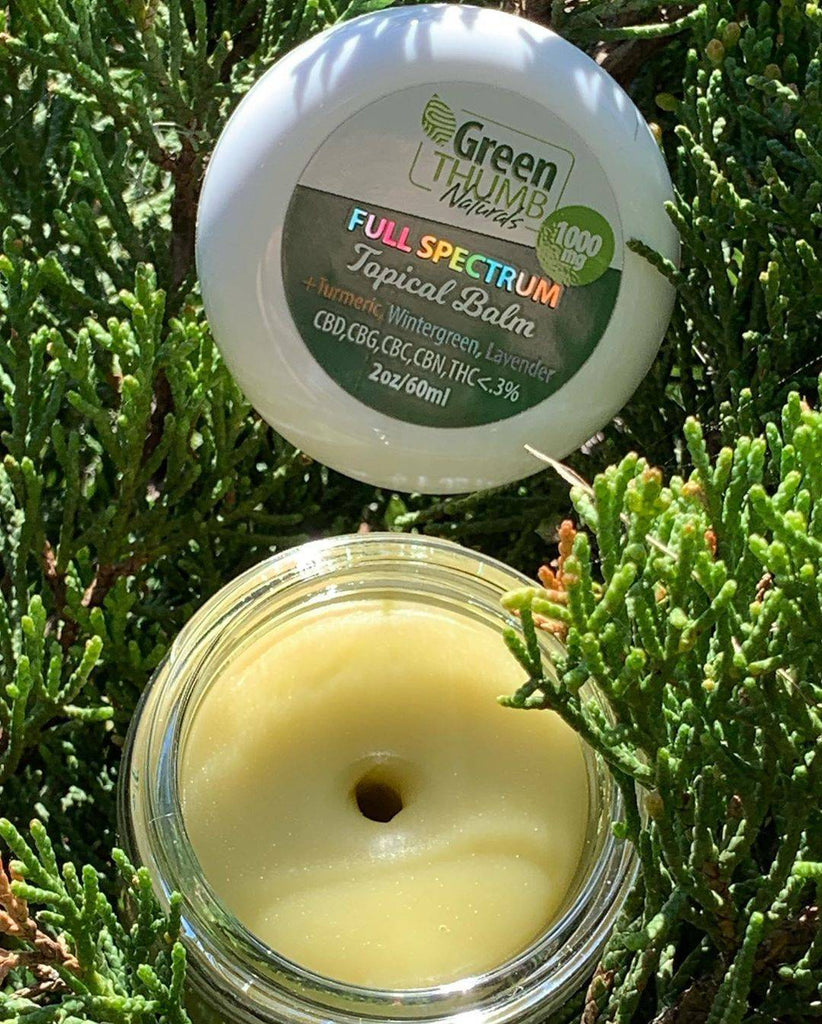 Green Thumb Naturals 2oz Full Spectrum Hemp Oil Infused Topical Balm w/ 1000MG Naturally Occurring CBD