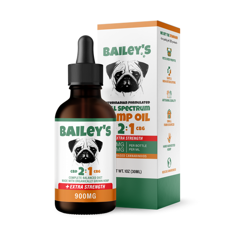 Image of Bailey's Full Spectrum Hemp Oil For Dogs 2:1 w/ 900MG Naturally Occurring CBD & CBG (NEW!)
