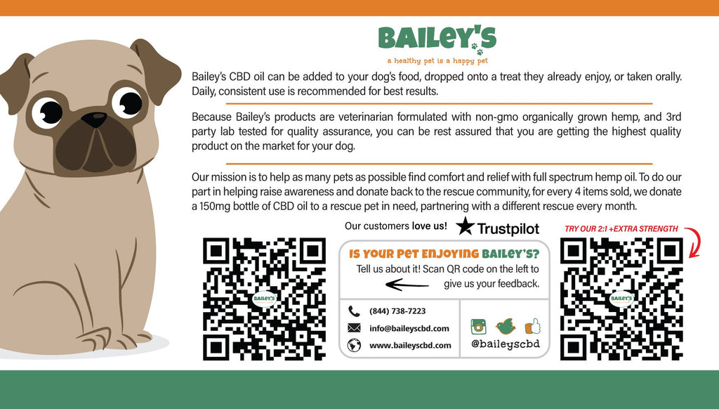 Bailey's Full Spectrum Hemp Oil For Dogs w/ 600MG Naturally Occurring CBD