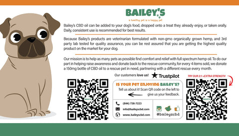 Image of Bailey's Full Spectrum Hemp Oil For Dogs w/ 150MG Naturally Occurring CBD