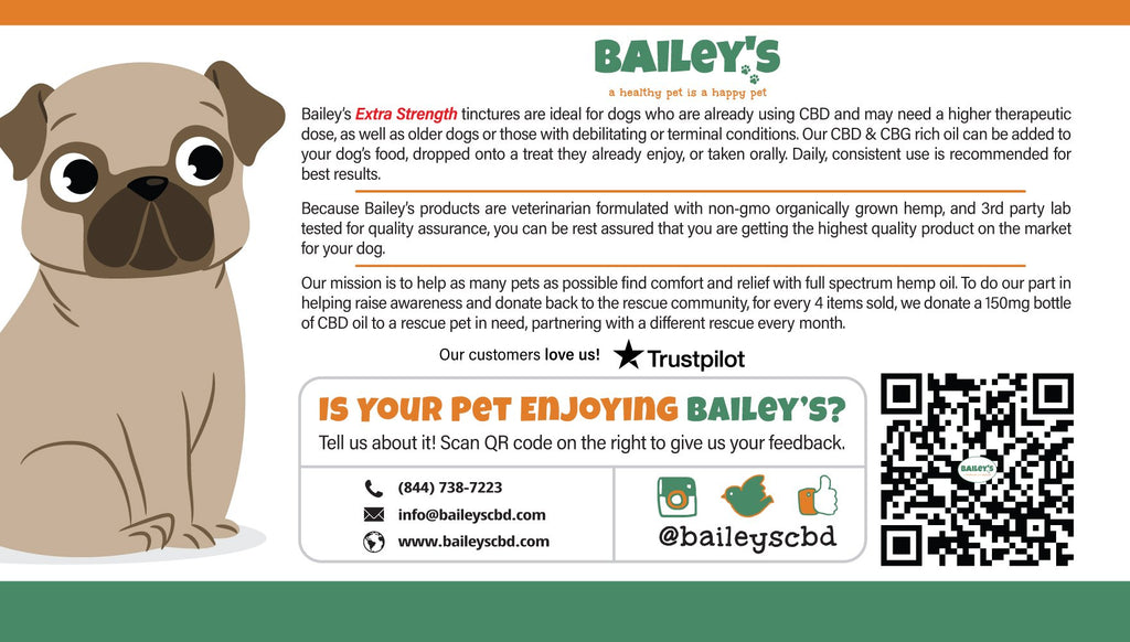 Bailey's Full Spectrum Hemp Oil For Dogs 2:1 w/ 900MG Naturally Occurring CBD & CBG (NEW!)