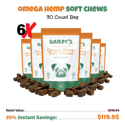 Image of Bailey's Bacon Flavored Omega Hemp Soft Chews 30 Count Bag w/ 3MG CBD Per Chew