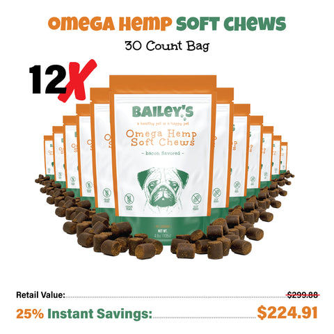 Bailey's Omega Hemp Soft Chews - Bacon Flavored- 30 Count Bag