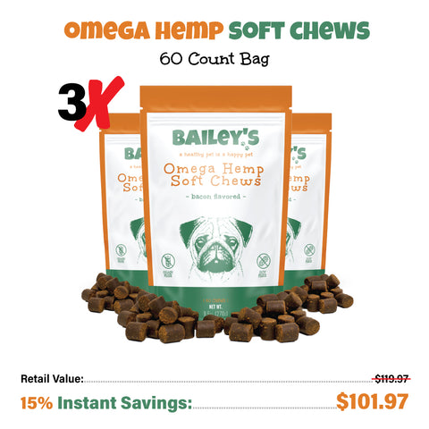 Image of Bailey's Omega Hemp Soft Chews - Bacon Flavored- 60 Count Bag
