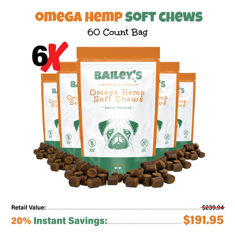 Bailey's Omega Hemp Soft Chews - Bacon Flavored- 60 Count (NEW!)