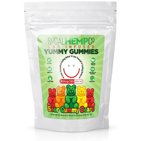 So Cal Hemp Co CBD Infused Sour Gummy Bears w/ 300mg CBD Per Package