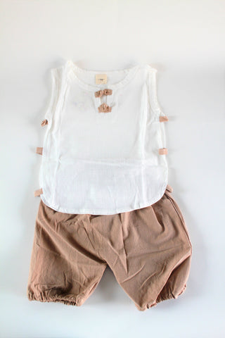Beige harem and white trendy top