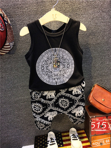 Black t shirt with boho pants