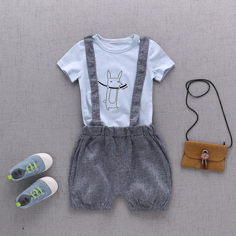 Blue t shirt with grey harem shorts (detachable dungree)