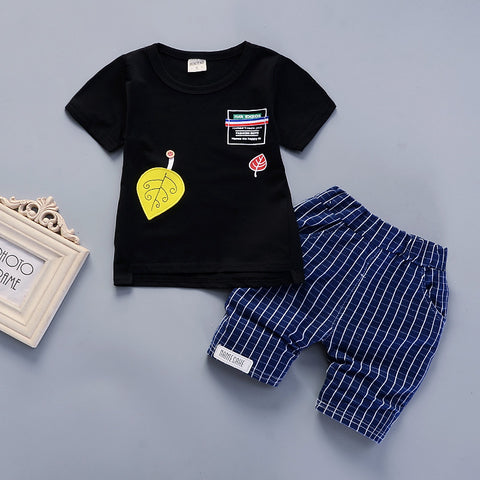 Blue chequered pants and black t shirt (unisex)