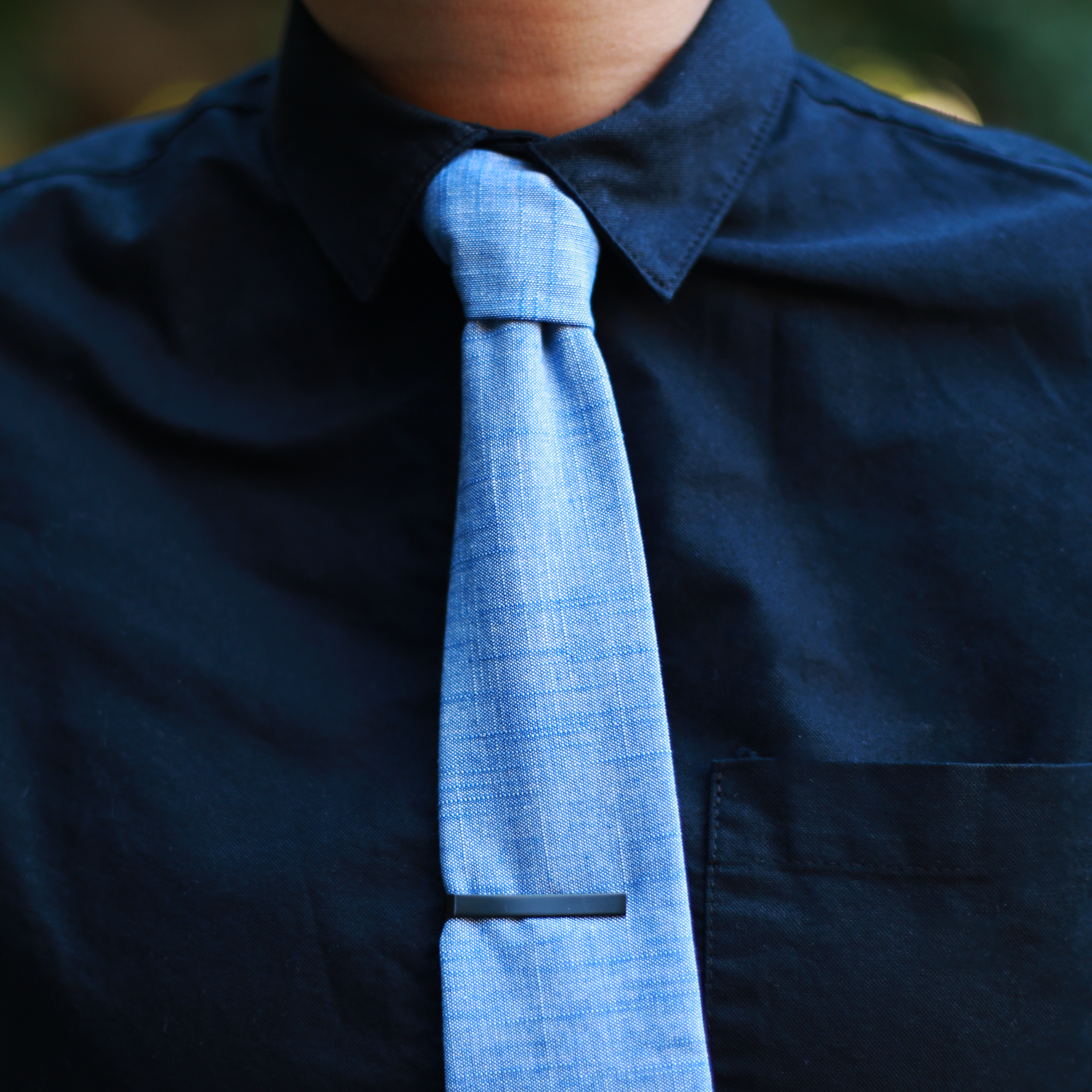 Crosshatch Chambray Tie