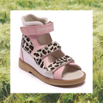 Pink Leopard High Cut Sandals