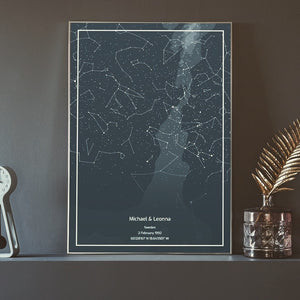 A custom star map as wall art