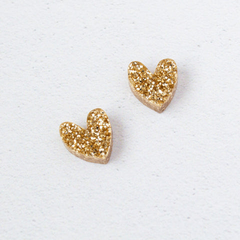 NATALIE LEA OWEN Heart Earrings - Gold Glitter