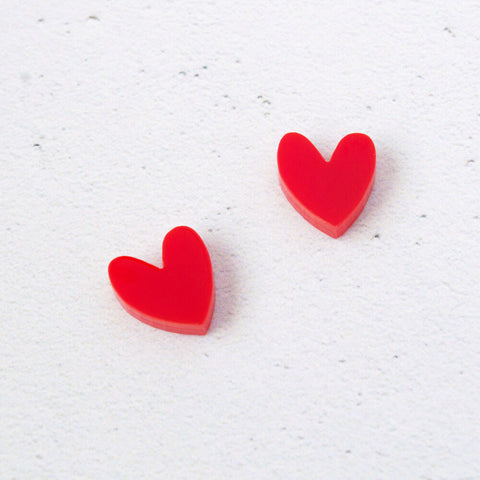 NATALIE LEA OWEN Heart Earrings - Red