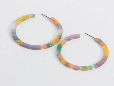 BIG METAL LONDON Sophia Hoop Resin Earrings - Lilac, Pink & Green