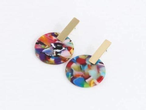 BIG METAL LONDON Emma Resin Disc Earrings - Red, Orange & Lilac