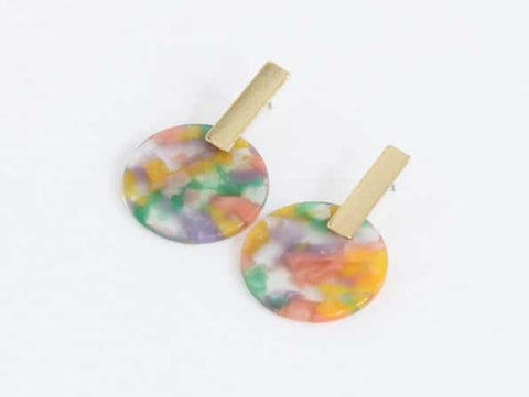 BIG METAL LONDON Emma Resin Disc Earrings - Lilac, Pink & Green
