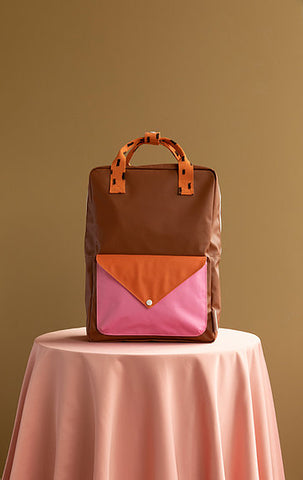 STICKY LEMON Large Backpack - Sprinkles Envelope- Brown/Orange/Pink