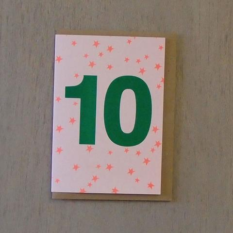Riso Number Cards - Green/Orange 10